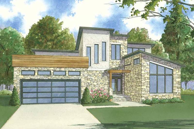 Contemporary Exterior - Front Elevation Plan #923-55 - Houseplans.com