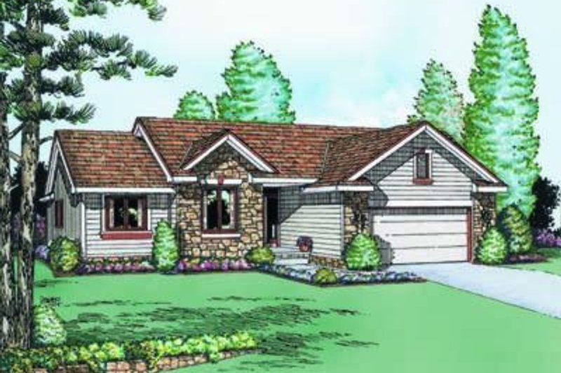 Traditional Exterior - Front Elevation Plan #20-440 - Houseplans.com