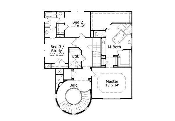 European Floor Plan - Upper Floor Plan #411-487