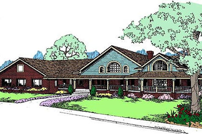 Country Style House Plan - 3 Beds 2.5 Baths 2916 Sq/Ft Plan #60-646 Exterior - Front Elevation