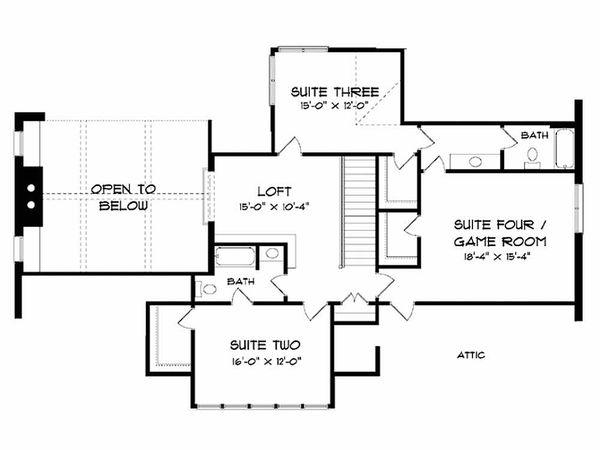 Craftsman Floor Plan - Upper Floor Plan Plan #413-106