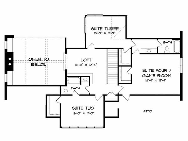 Craftsman Floor Plan - Upper Floor Plan Plan #413-106
