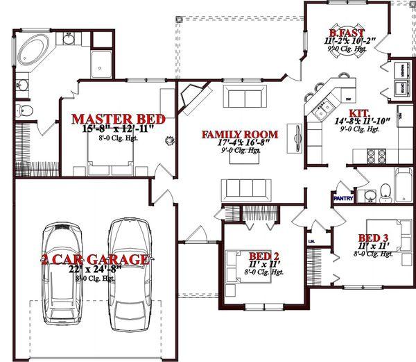 European Floor Plan - Main Floor Plan Plan #63-366