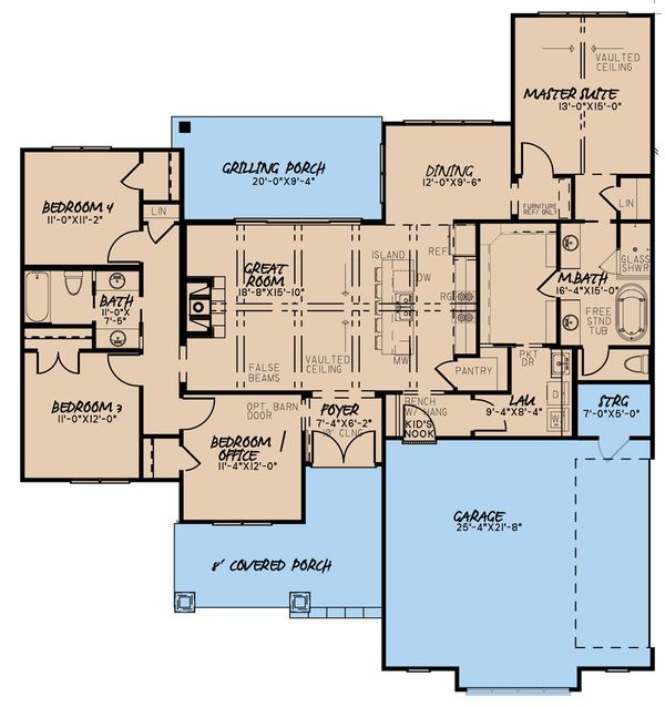 House Plan Design - Craftsman Floor Plan - Main Floor Plan #923-165