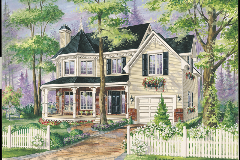 Victorian Style House Plan - 3 Beds 1 Baths 1787 Sq/Ft Plan #25-4762 Exterior - Front Elevation