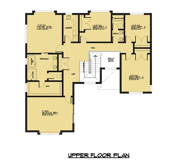 Contemporary Floor Plan - Upper Floor Plan Plan #1066-49