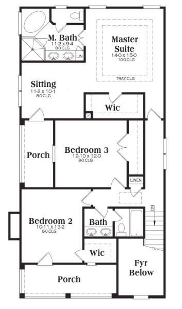 Southern Floor Plan - Upper Floor Plan Plan #419-151