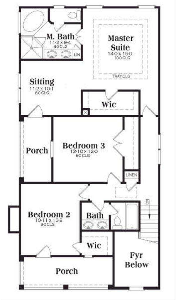 Southern Floor Plan - Upper Floor Plan #419-151