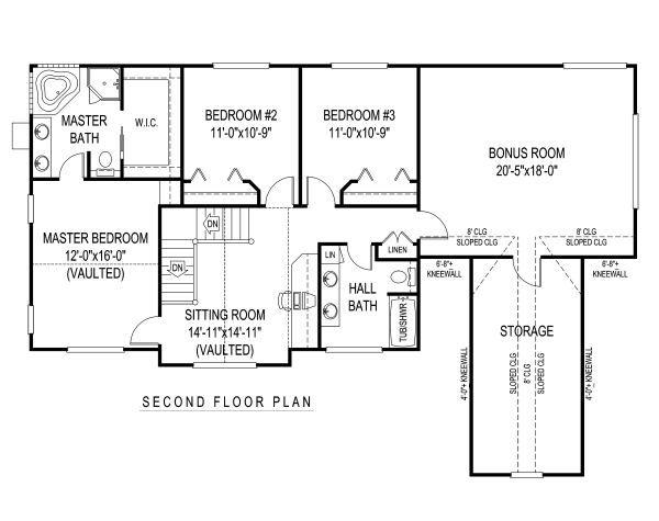 Country Floor Plan - Upper Floor Plan Plan #11-220