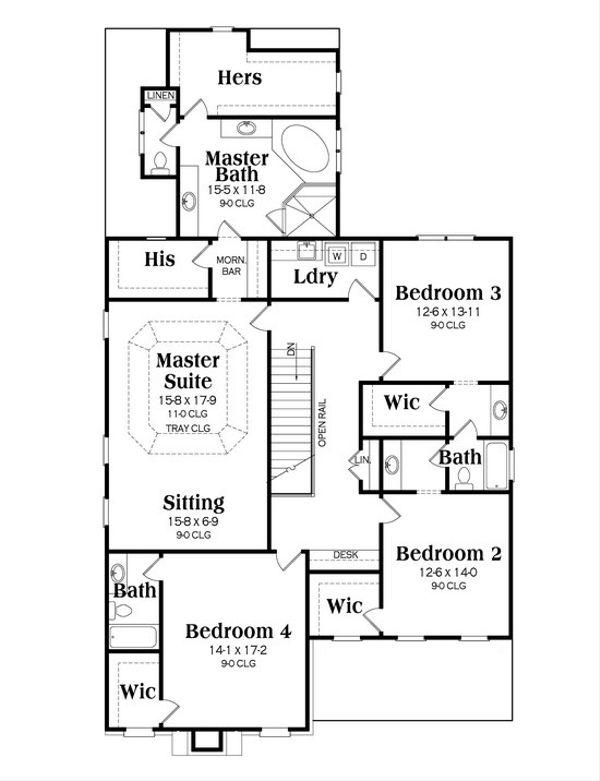 Craftsman Floor Plan - Upper Floor Plan Plan #419-241