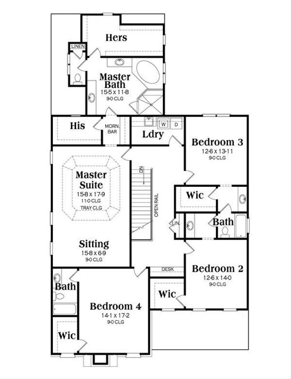 Craftsman Floor Plan - Upper Floor Plan Plan #419-241