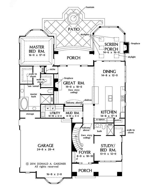 Craftsman Floor Plan - Main Floor Plan Plan #929-30