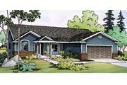 Ranch Style House Plan - 3 Beds 2 Baths 1604 Sq/Ft Plan #124-379 Exterior - Front Elevation