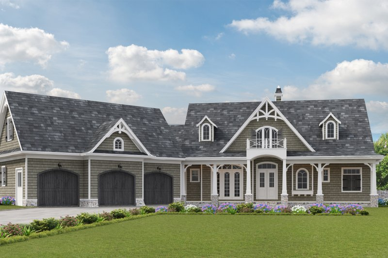 Dream House Plan - Craftsman Exterior - Front Elevation Plan #54-398