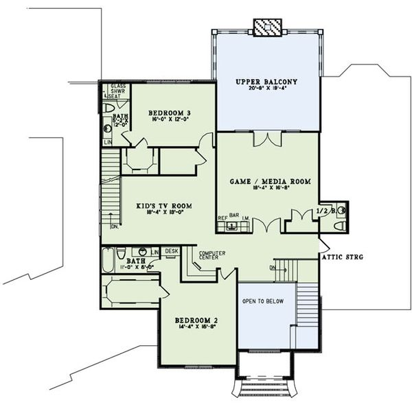 European Floor Plan - Upper Floor Plan Plan #17-2489