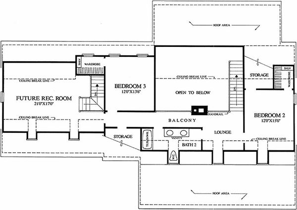 Southern Floor Plan - Upper Floor Plan #137-123