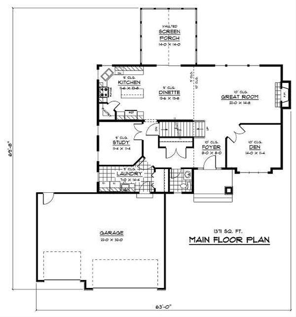 Traditional Floor Plan - Main Floor Plan Plan #51-254