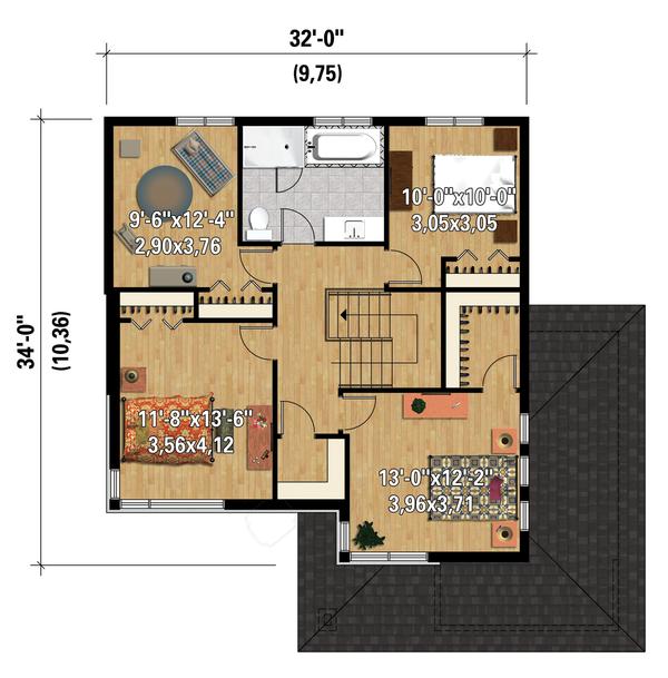 Contemporary Floor Plan - Upper Floor Plan Plan #25-4574