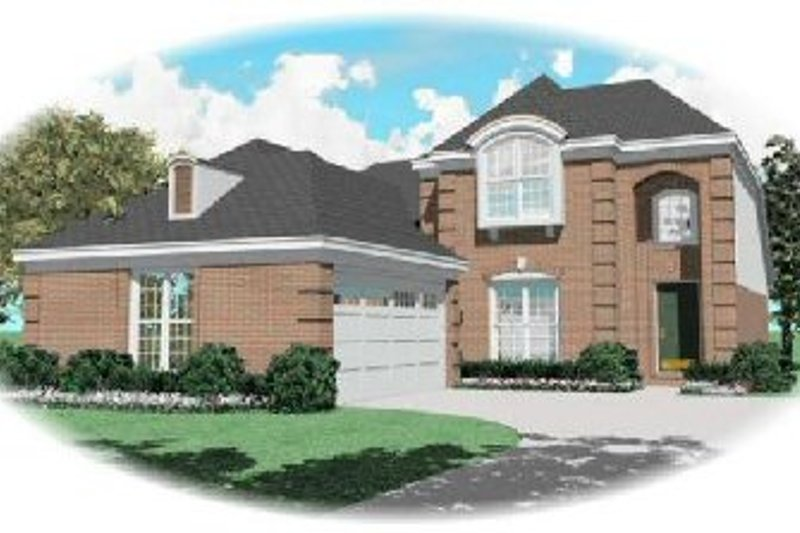 European Style House Plan - 4 Beds 3 Baths 2134 Sq/Ft Plan #81-269 Exterior - Front Elevation