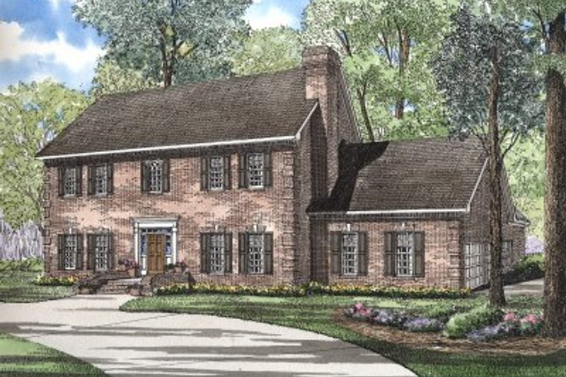 Colonial Style House Plan - 4 Beds 2.5 Baths 3661 Sq/Ft Plan #17-278 Exterior - Front Elevation