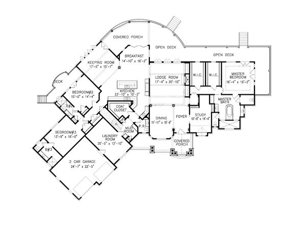 Craftsman Floor Plan - Main Floor Plan Plan #54-412