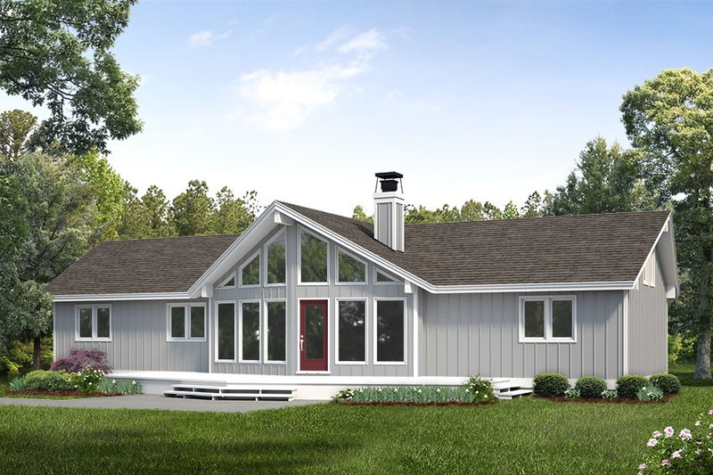 Cabin Style House Plan - 3 Beds 2 Baths 1405 Sq/Ft Plan #47-937 Exterior - Front Elevation