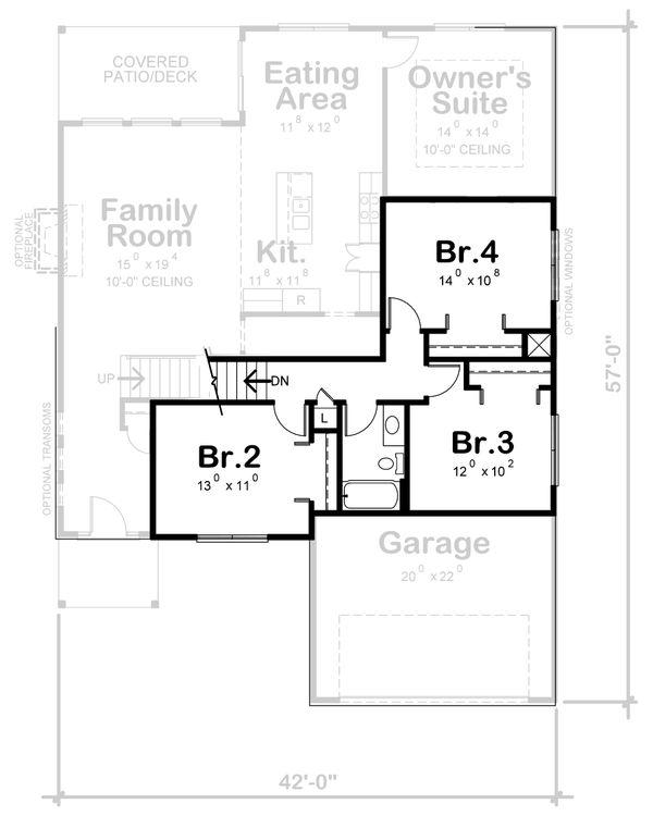 Traditional Floor Plan - Upper Floor Plan #20-2396