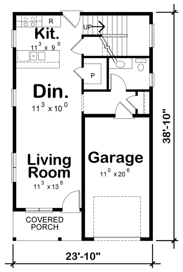Contemporary Floor Plan - Main Floor Plan Plan #20-2320