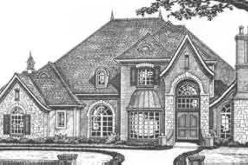 European Style House Plan - 4 Beds 3.5 Baths 4101 Sq/Ft Plan #310-512 Exterior - Front Elevation