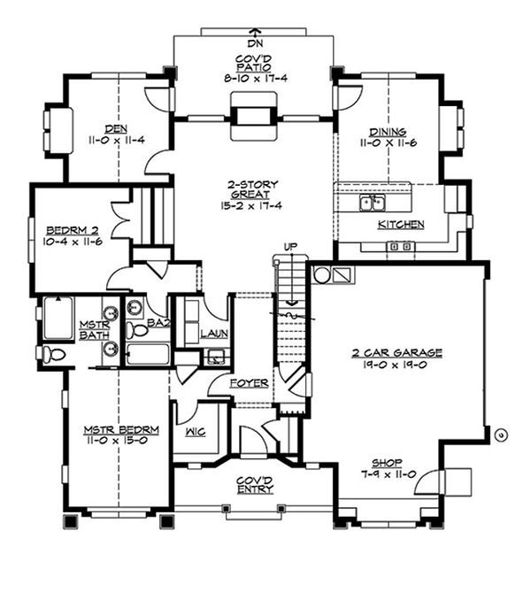 Craftsman Floor Plan - Main Floor Plan #132-197