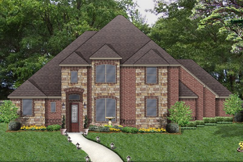 Traditional Style House Plan - 4 Beds 3 Baths 3544 Sq/Ft Plan #84-622 Exterior - Front Elevation