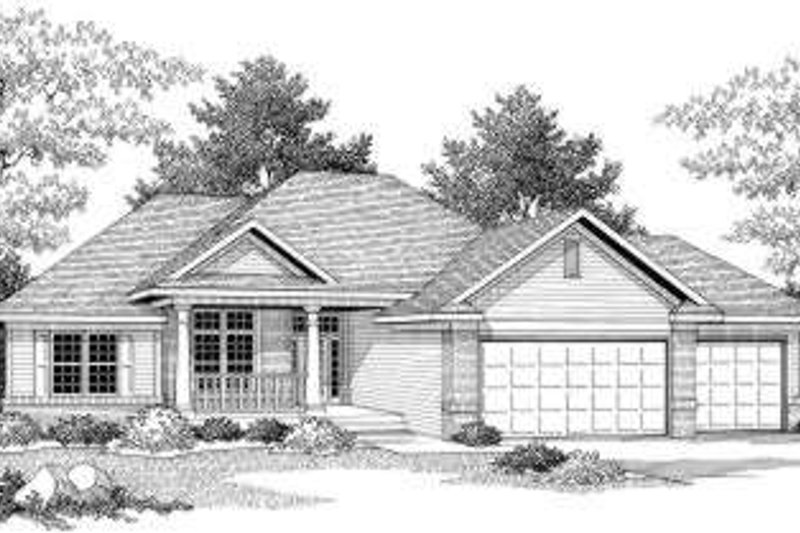 Traditional Style House Plan - 3 Beds 1.5 Baths 1636 Sq/Ft Plan #70-597 Exterior - Front Elevation