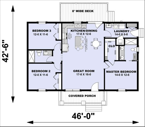 Farmhouse Floor Plan - Main Floor Plan Plan #44-227