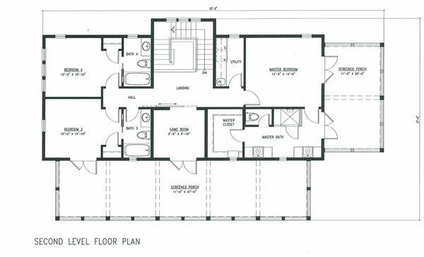 Beach Floor Plan - Upper Floor Plan Plan #443-9
