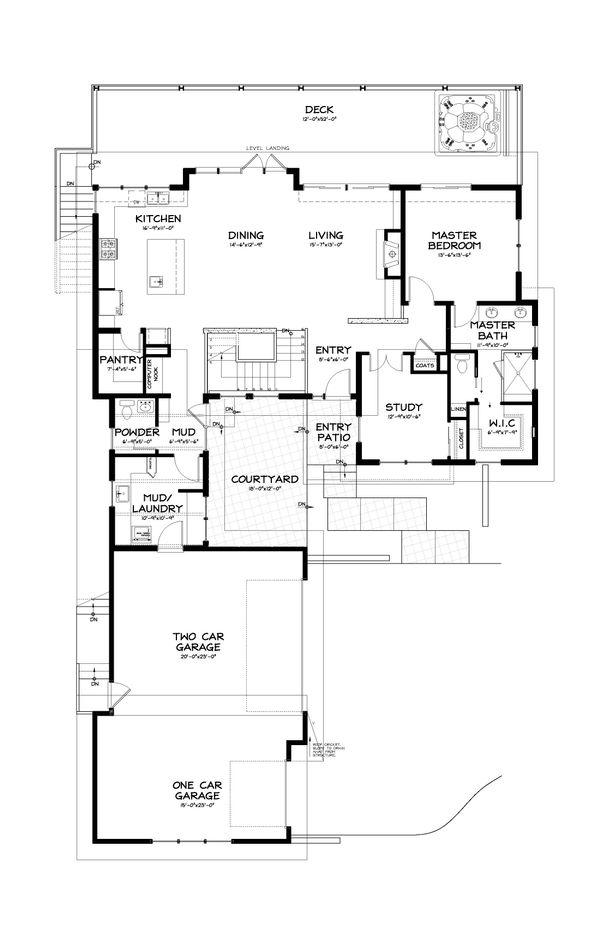 Contemporary Style House Plan - 3 Beds 2.5 Baths 2687 Sq/Ft Plan #895-8 Floor Plan - Main Floor Plan