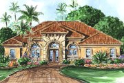Mediterranean Style House Plan - 3 Beds 3 Baths 2536 Sq/Ft Plan #27-307 Exterior - Front Elevation