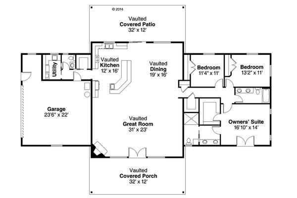 Ranch Floor Plan - Main Floor Plan Plan #124-955