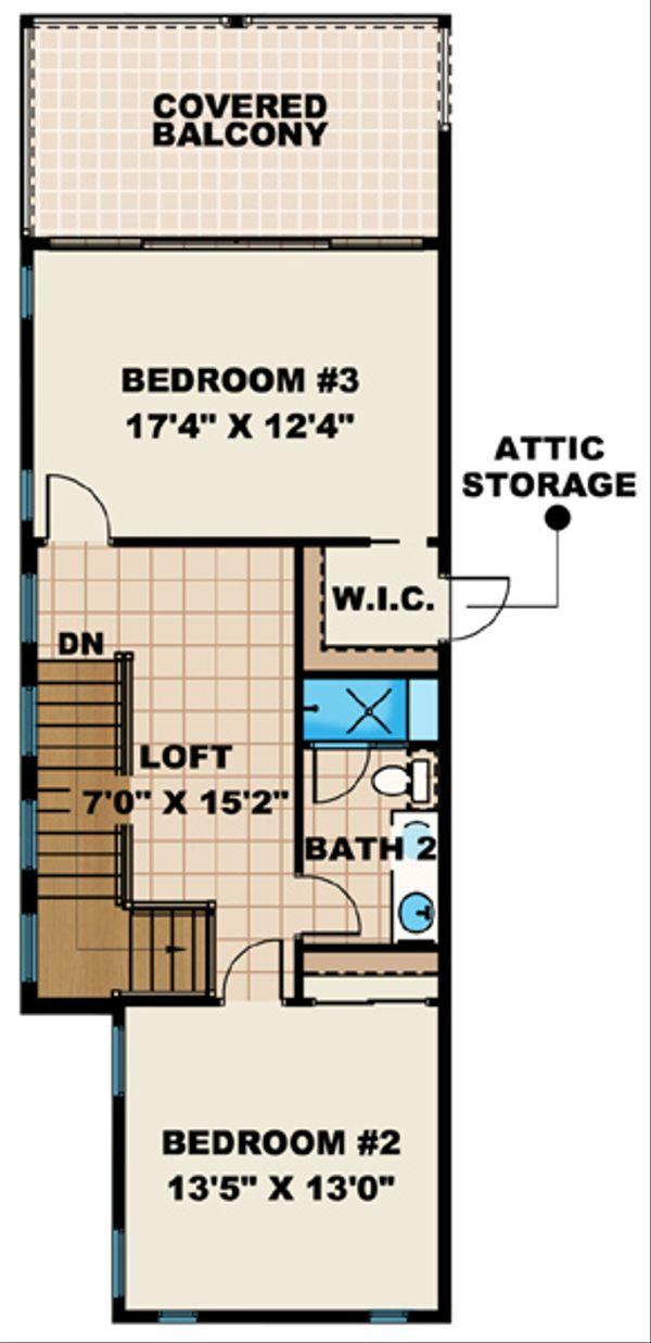 European Floor Plan - Upper Floor Plan Plan #27-444