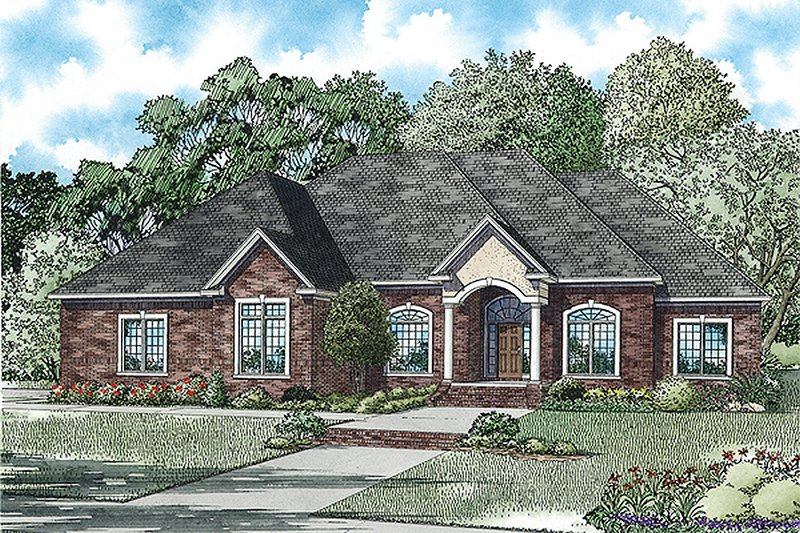 European Style House Plan - 4 Beds 4.5 Baths 3445 Sq/Ft Plan #17-2474 Exterior - Front Elevation