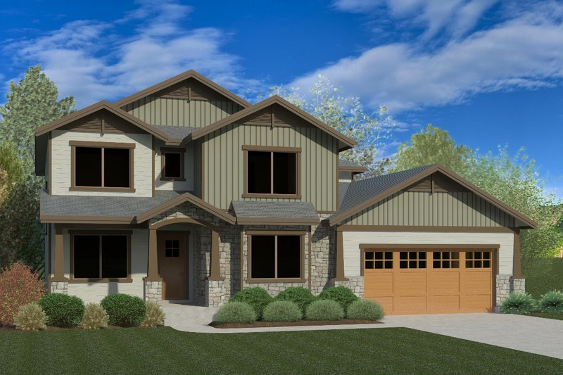 Craftsman Style House Plan - 5 Beds 3 Baths 3957 Sq/Ft Plan #920-75 Exterior - Front Elevation