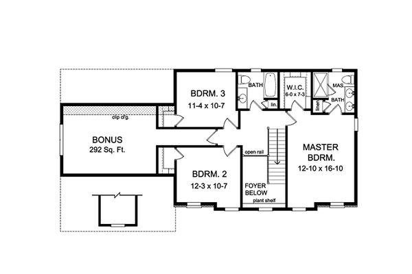 Home Plan - Colonial Floor Plan - Upper Floor Plan #1010-209