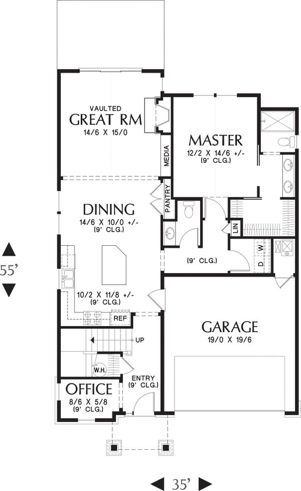 Home Plan - Main Level floor plan - 2100 square foot Craftsman home
