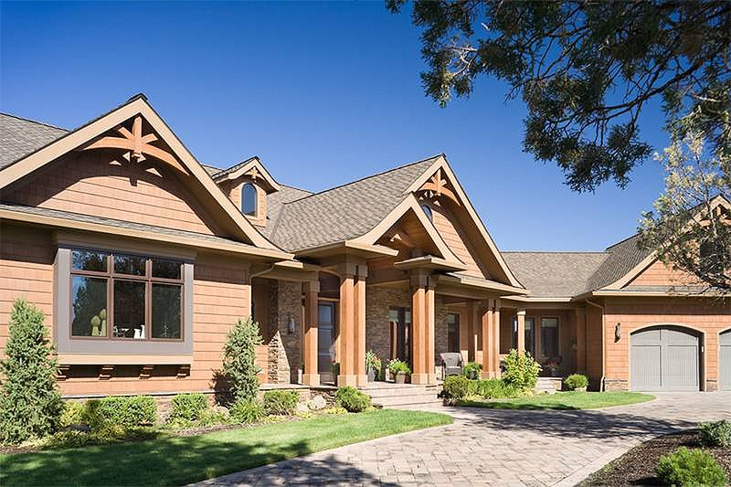 House Plan Design - Front View - 5300 square foot Craftsman home