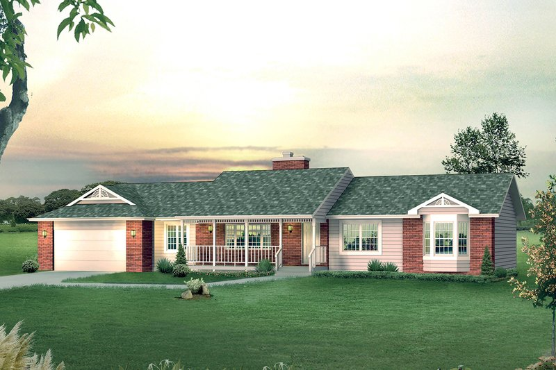 Ranch Style House Plan - 3 Beds 2.5 Baths 1672 Sq/Ft Plan #57-640 Exterior - Front Elevation