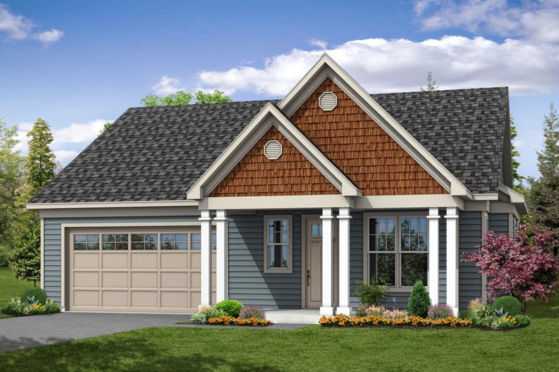 Cottage Exterior - Front Elevation Plan #124-1063