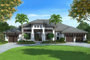 Contemporary Style House Plan - 4 Beds 4.5 Baths 4599 Sq/Ft Plan #27-493 Exterior - Front Elevation