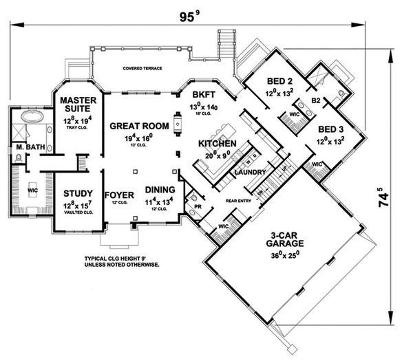 European Floor Plan - Main Floor Plan Plan #20-2286