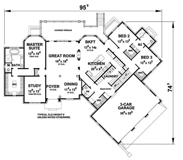 European Floor Plan - Main Floor Plan Plan #20-2286