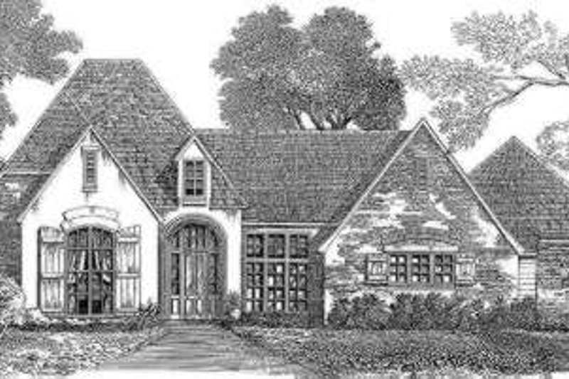 European Style House Plan - 4 Beds 3 Baths 3020 Sq/Ft Plan #301-115 Exterior - Front Elevation