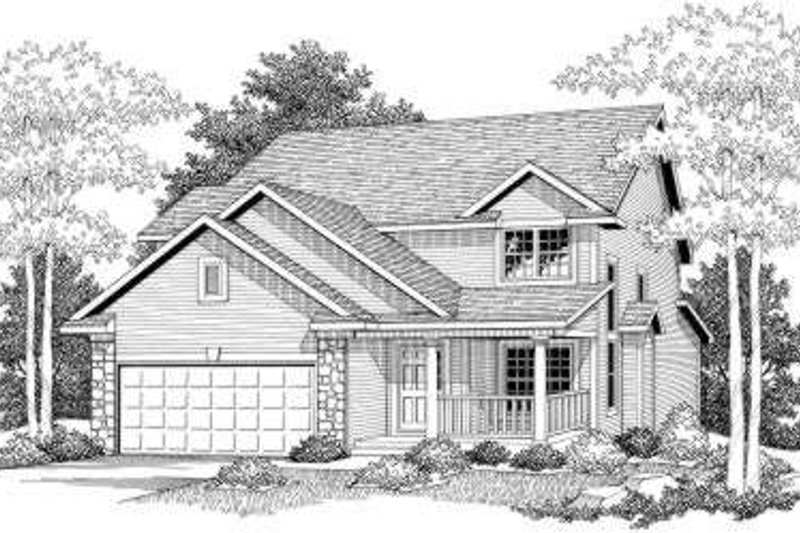 Farmhouse Style House Plan - 4 Beds 2.5 Baths 2349 Sq/Ft Plan #70-579 Exterior - Front Elevation